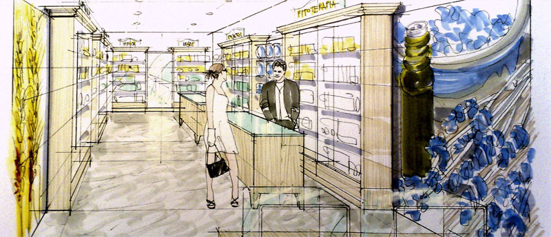 Arredamenti per erboristerie studio perugia for Arredamento negozi bologna